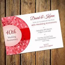 40th anniversary invitations 40th ruby wedding anniversary invitations