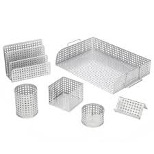Silver Desk Accessories Artistic Office Products Punched Metal Desk Accessories And