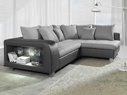 canapé d angle gris anthracite canapé d angle convertible tissu et simili chiara avec led