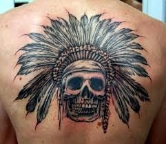 indian cowboy skull on back tattooshunt com