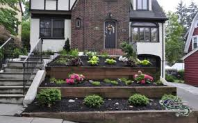 Tiered Backyard Landscaping Ideas Garden Design Front Of House Flower Ideas In Inspiration For
