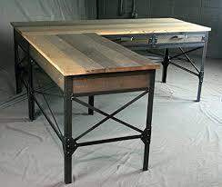 reclaimed wood l shaped desk reclaimed wood l shaped desk french industrial l shaped desk with