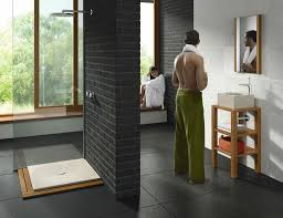Contemporary Small Bathroom Design by Bathroom 2017 Wooden Mat Gray Subway Wall Tiles Smart Bathroom