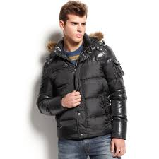 guess faux fur hooded puffer jacket in black for men lyst