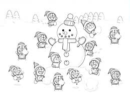 download doraemon and snowman coloring pages to print or print