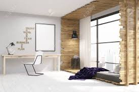 office in living room bed and home office in one room poster in frame on wall table