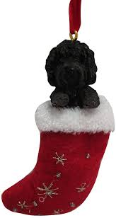 labradoodle ornament with santa s