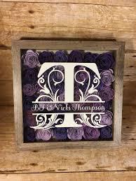 newlywed gift monogrammed flower shadow box wedding gift gallery wall flower