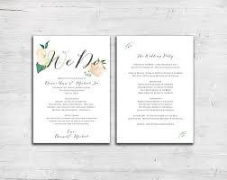 flat wedding programs vintage floral design tea length flat wedding program floral