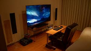 home accessories cozy gaming setup ideas with wooden flooring and