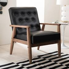 Upholstered Accent Chairs by Baxton Studio Sorrento Mid Century Black Faux Leather Upholstered