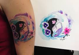 watercolor moon and flowers with portrait