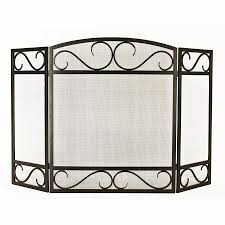 style selections 50 15 in black powder coated steel 3 panel scroll fireplace screen