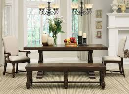 antique dark brown wood dining set with bench with twin medieval