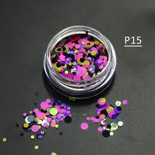1g mini round thin paillette design 3d diy nail glitter powder