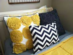 Blue And Yellow Bedroom by Yellow Navy Blue Flower Burst Dahlia Artwork Set Of 3 By Trmdesign