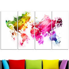 Canvas Map Of The World by Colors Of The World U2013 Map Canvas Art Pt2707 Finecraft Art