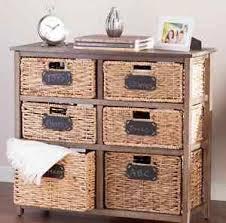 Storage Cabinet With Baskets Wood Storage Cabinet 6 Removable Drawers Wicker Baskets Dresser