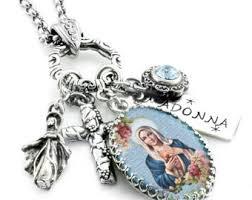 religious jewelry madonna necklace etsy