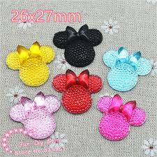 hair bow center mix color mouse 26x27mm resin flat back cabochon for hair bow
