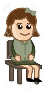 sur chaise femme assise sur chaise business personnage de dessin animé clip
