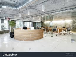 modern loft office reception 3d rendering stock illustration