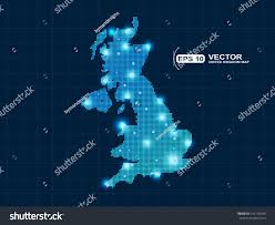 Northern Lights Map Pixel United Kingdom Map Spot Lights Stock Vector 142190530