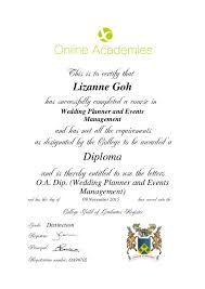 wedding planner requirements diploma certificate wedding course