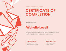 pink and red geometric course completion certificate templates