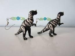 t rex earrings custom made upcycled earrings made from dinosaurs black t