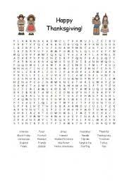 intermediate esl worksheets thanksgiving word search