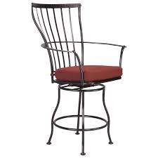 unpolished wrought iron bar stool with curved arms and high back