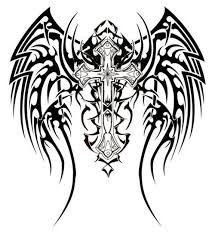 cross with wings tribal
