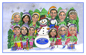caricature cards business family