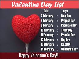 s day teddy 7 days before valentines day day chocolate day propose day