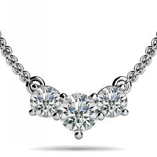 stone diamond necklace images 3 stone diamond horizontal pendant necklace 14k gold jpg