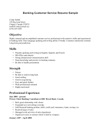 Entry Level Job Resume Qualifications Banking Customer Service Sample Objective And List Of Skills And