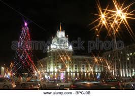 Russian Decoration For Christmas by Russian Cities Decorated For New Year Celebration Stock Photo