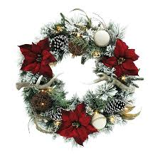 pre lit battery operated garland door wreath with timer