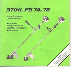 stihl fs 74 fs 76 string trimmer instruction owners maintenance