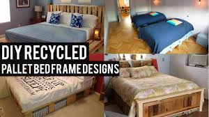 diy recycled pallet bed frame designs youtube