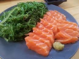karen tran sf fast day 19 salmon sashimi and seaweed salad