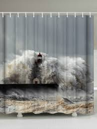 Lighthouse Window Curtains 2018 Waterproof Fabric Surge Lighthouse Shower Curtain Gray W Inch