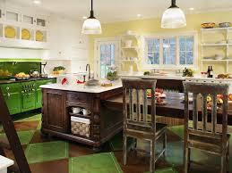 kitchen unique green kitchen island ideas with orange brick wall