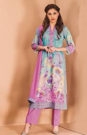 mauve color printed with embroidered salwar suit in cotton fabric