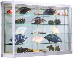 wall showcase cabinet with led lights angled front design