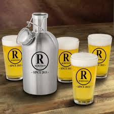 personalized home decor gifts personalized stainless steel beer growler with pint glass set home