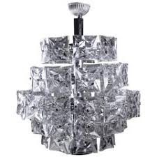 Crystal And Chrome Chandelier Mid Century Modern Chandelier Kinkeldey Polished Chrome And