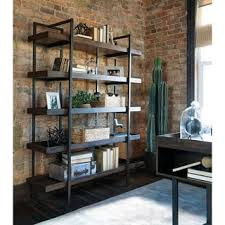 Double Bookcase Abbyson Wood And Iron Industrial Rustic Five Tier Double Bookcase