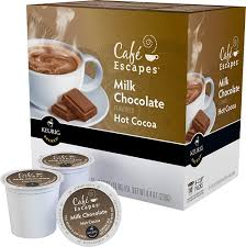 swiss miss light cocoa k cups café escapes cafe escapes milk chocolate chocolate k cup pods
